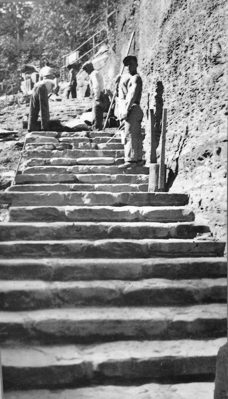 Marker detail: Constructing steps along the Lower Falls Trail, September 24, 1936 image. Click for full size.