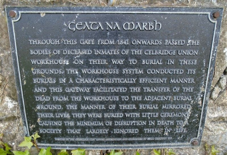 Celbridge Union Workhouse Cemetery Gate Marker image. Click for full size.