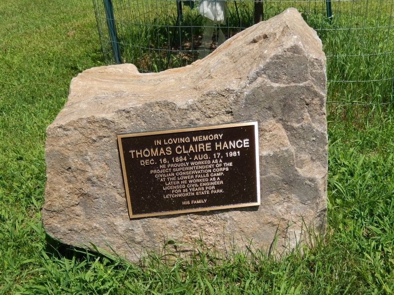 Thomas Claire Hance CCC Memorial (<i>located near statue</i>) image. Click for full size.