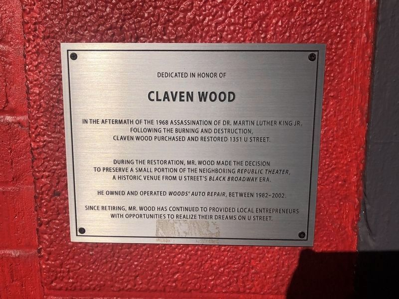 Dedicated in Honor of Claven Wood Marker image. Click for full size.