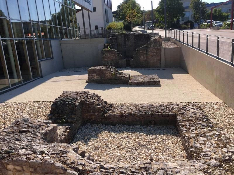 "Remains of the ""Porta Principia Sinistra"" in front of the Limes Museum (as mentioned on the marker) image. Click for full size."