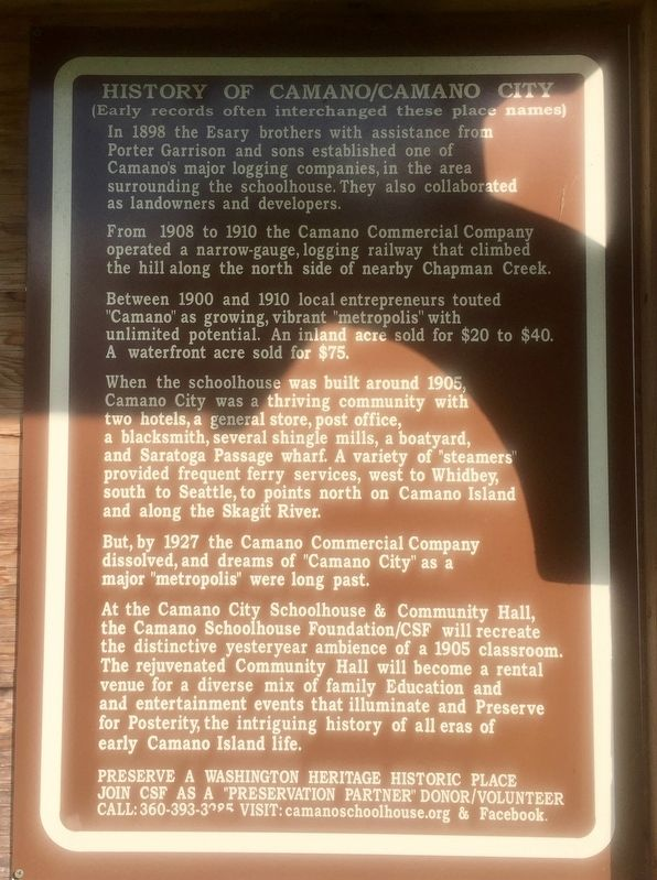 History of Camano/Camano City Marker image. Click for full size.