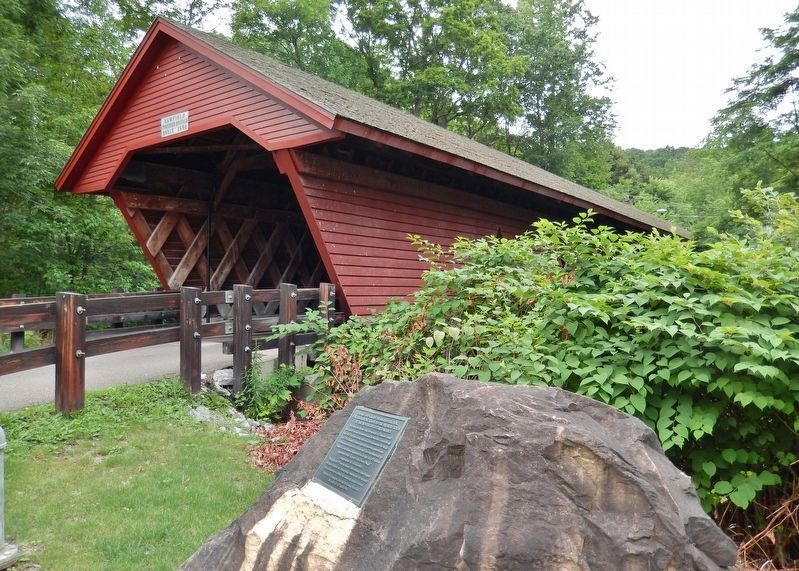 Newfield Covered Bridge • <i>southeast corner<br>(view from near marker)</i> image. Click for full size.