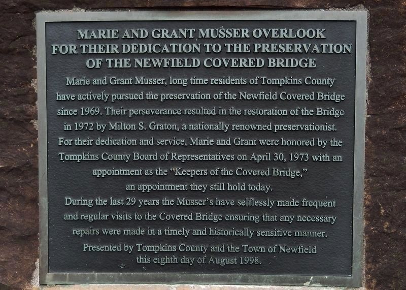 Marie and Grant Musser Memorial Plaque<br>(<i>located near marker</i>) image. Click for full size.