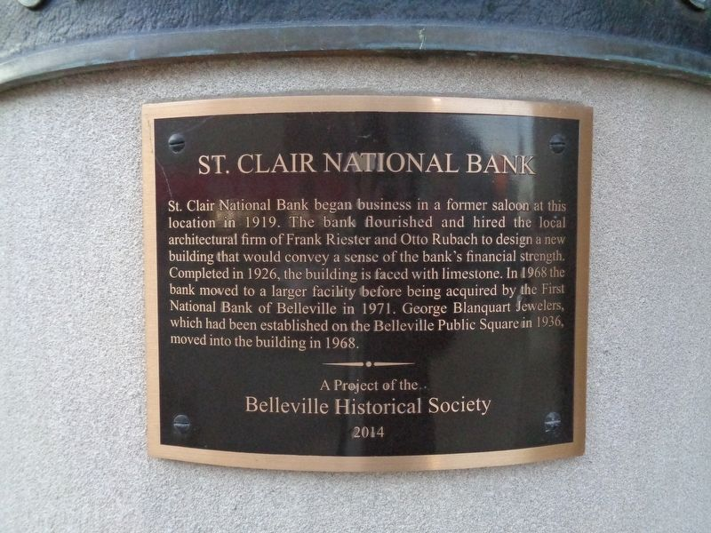 St. Clair National Bank Marker image. Click for full size.