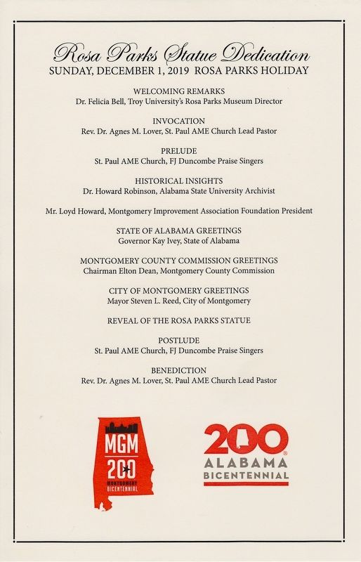 Dedication program for the unveiling of the Rosa Parks Statue and Marker. image. Click for full size.