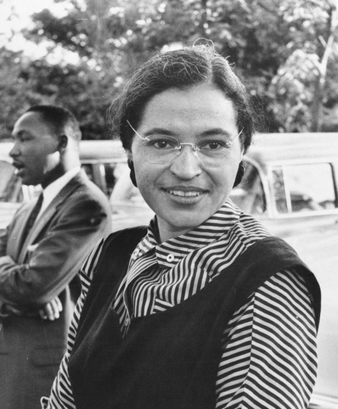 Photograph of Rosa Parks with Dr. Martin Luther King Jr. image. Click for full size.