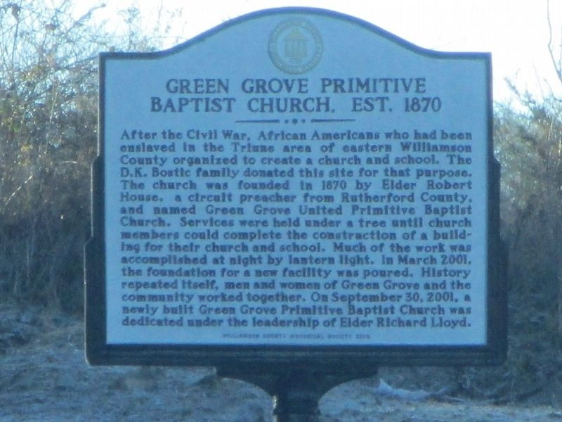 Green Grove Primitive Baptist Church Marker image. Click for full size.