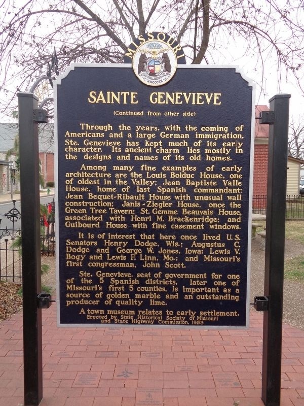 Sainte Genevieve Marker image. Click for full size.