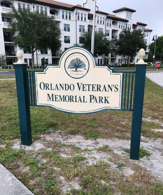 Orlando Veteran's Memorial Park Sign image. Click for full size.