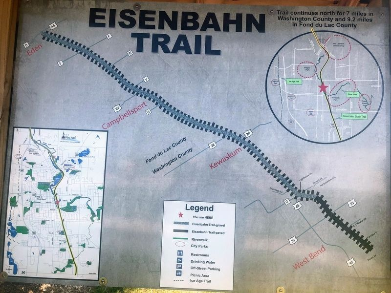 Trail Map on the back of Eisenbahn Trail History Marker image. Click for full size.