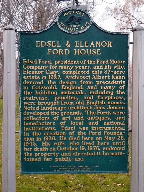 Edsel & Eleanor Ford House Marker image. Click for full size.