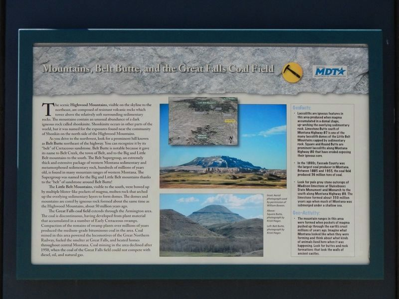 Mountains, Belt Butte, and the Great Falls Coal Field Marker image. Click for full size.