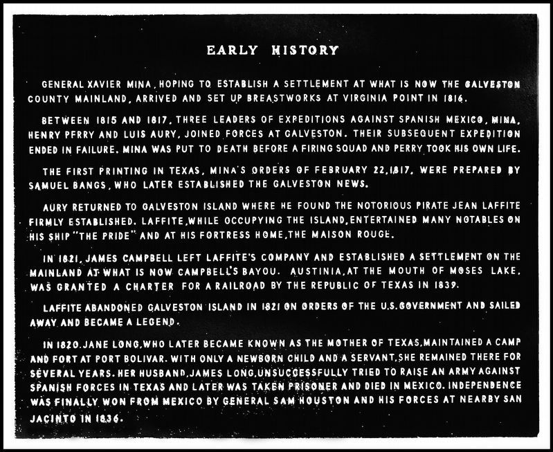 [Galveston County] Early History Marker image. Click for full size.