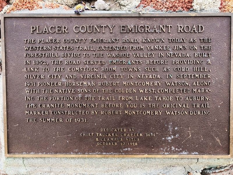 Placer County Emigrant Road Marker image. Click for full size.