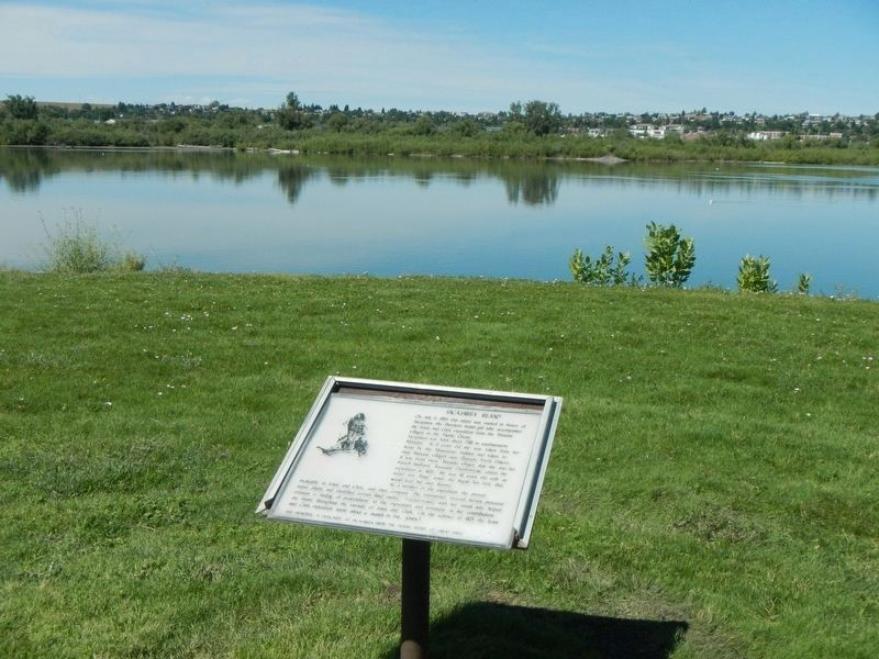 Sacajawea Island (the treeline) and Marker image. Click for full size.
