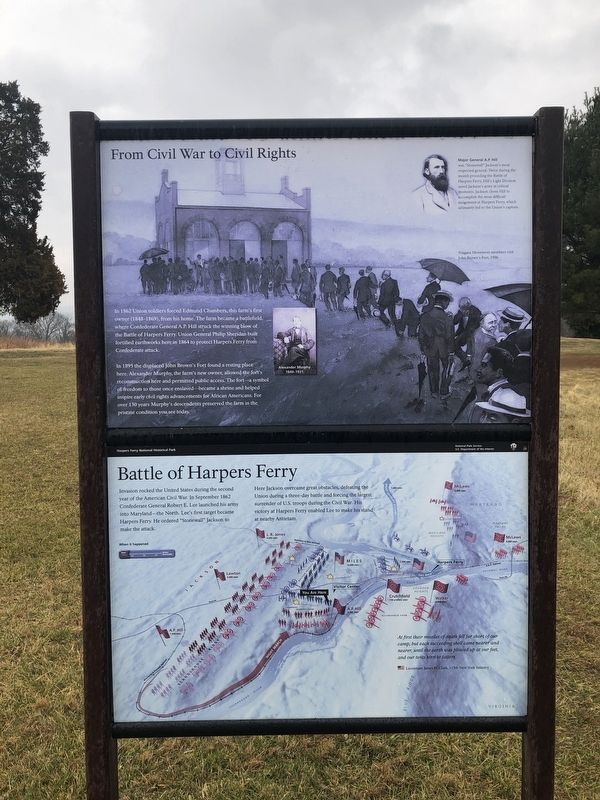 From Civil War to Civil Rights / Battle of Harpers Ferry Marker image. Click for full size.