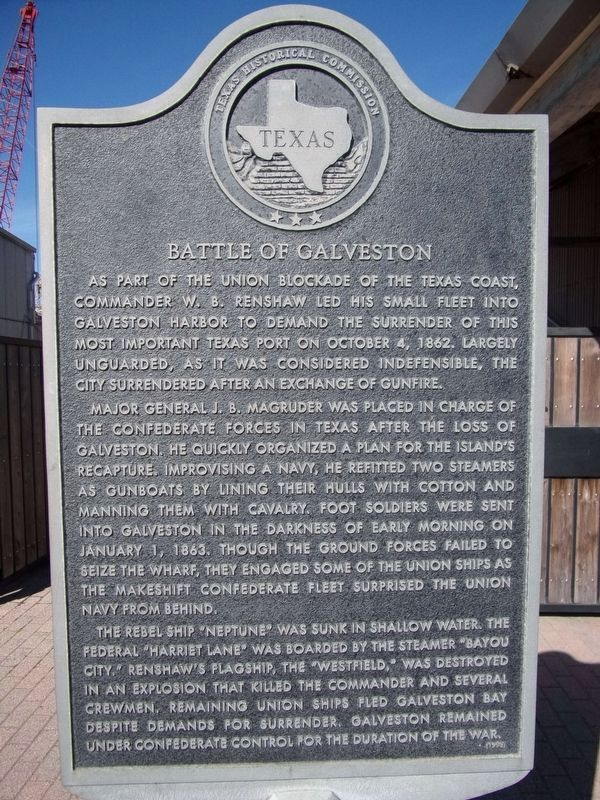 Battle of Galveston Marker image. Click for full size.