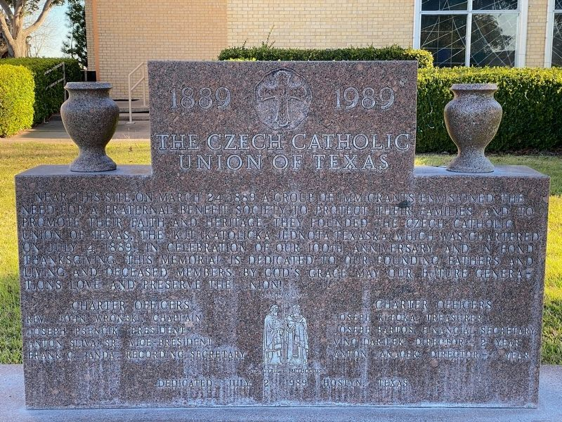 The Czech Catholic Union of Texas Marker image. Click for full size.