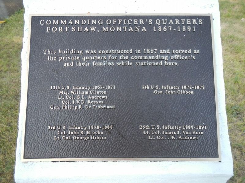 Commanding Officer's Quarters Marker image. Click for full size.