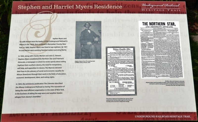 Stephen and Harriet Myers Residence Marker image. Click for full size.