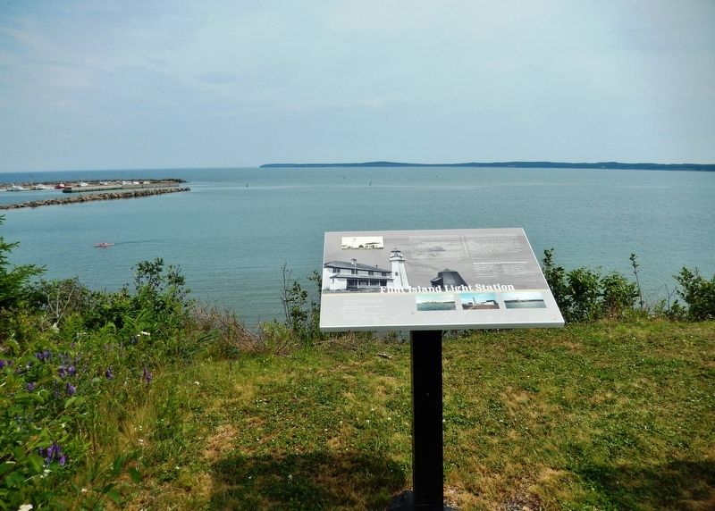 Flint Island Light Station Marker (<i>wide view</i>) image. Click for full size.