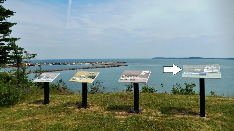 Morien Bay Marker<br>(<i>rightmost of 4 markers overlooking Morien Bay</i>) image. Click for full size.