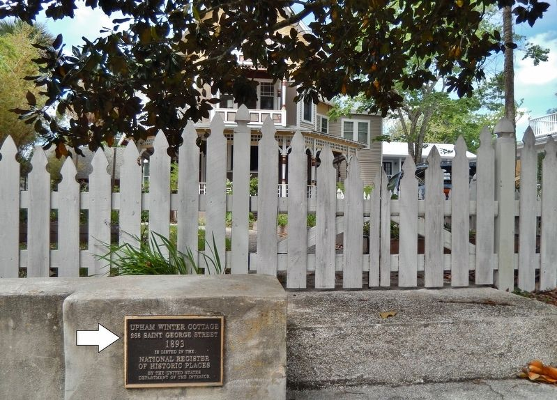 Upham Winter Cottage Marker<br>(<i>wide view from Saint George Street</i>) image. Click for full size.