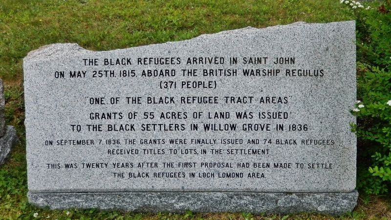 Black Refugees in Saint John Marker image. Click for full size.