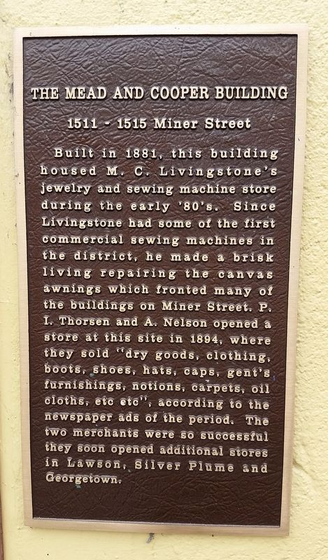 The Mead and Cooper Building Marker image. Click for full size.