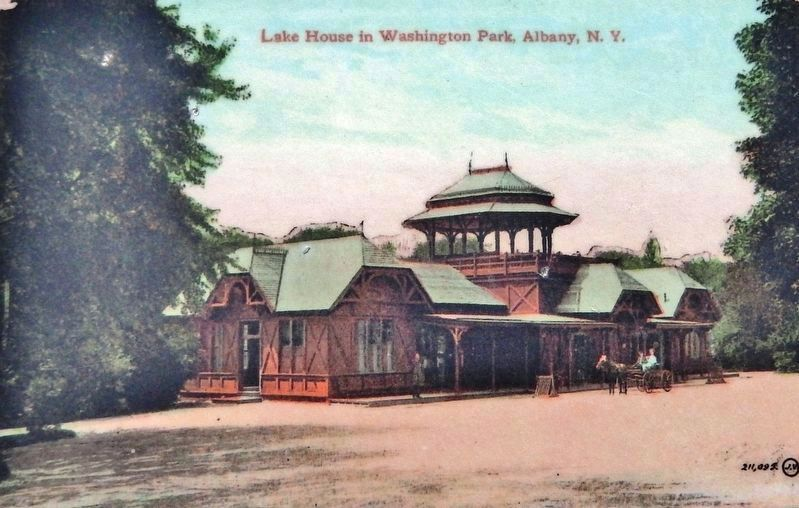 Marker detail: 1875 Wooden Washington Park Lakehouse image. Click for full size.