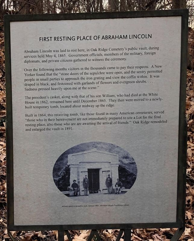 First Resting Place of Abraham Lincoln Marker image. Click for full size.