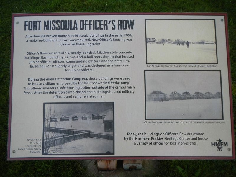 Fort Missoula Officer's Row Marker image. Click for full size.