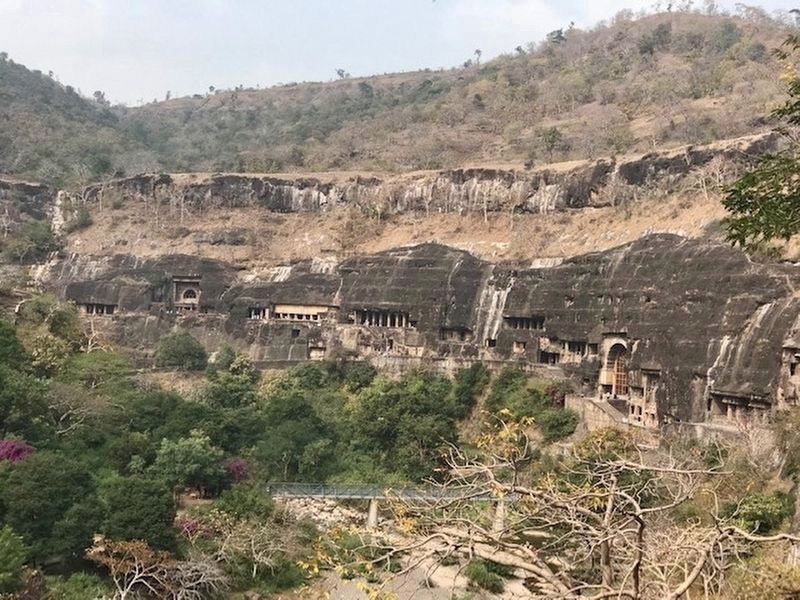 General overview of Ajanta Caves - looking northeast image. Click for full size.