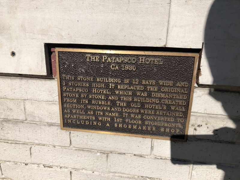 The Patapsco Hotel Marker image. Click for full size.