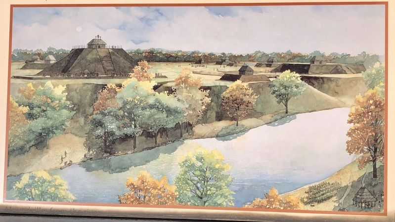 Artist rendering of Moundville, ca. 1250 AD. image. Click for full size.