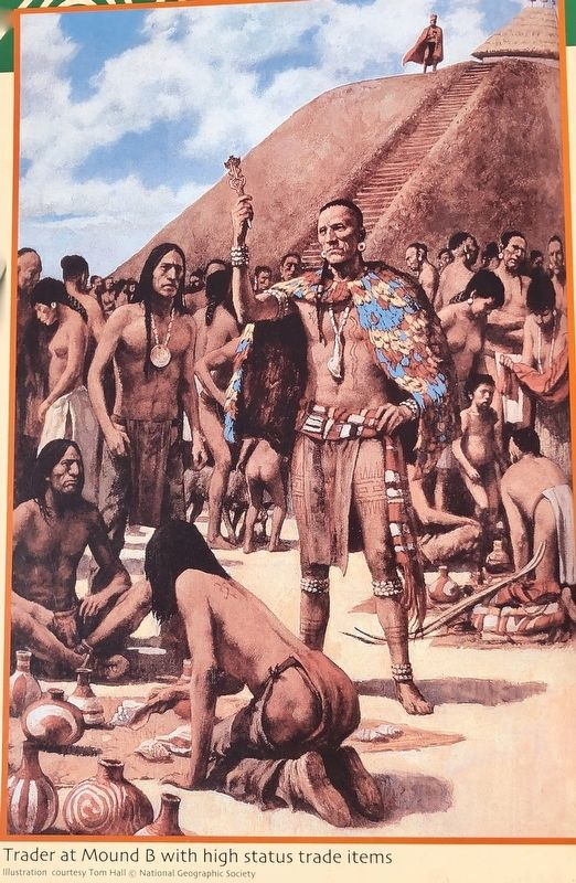 National Geographic illustration of a trader at Mound B. image. Click for full size.