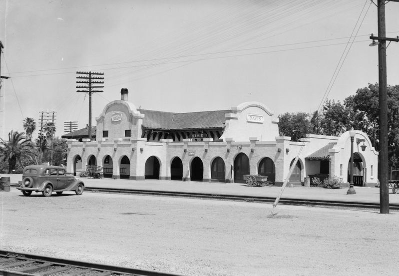<i>Southern Pacific Depot at Davis, Calif</i> image. Click for full size.