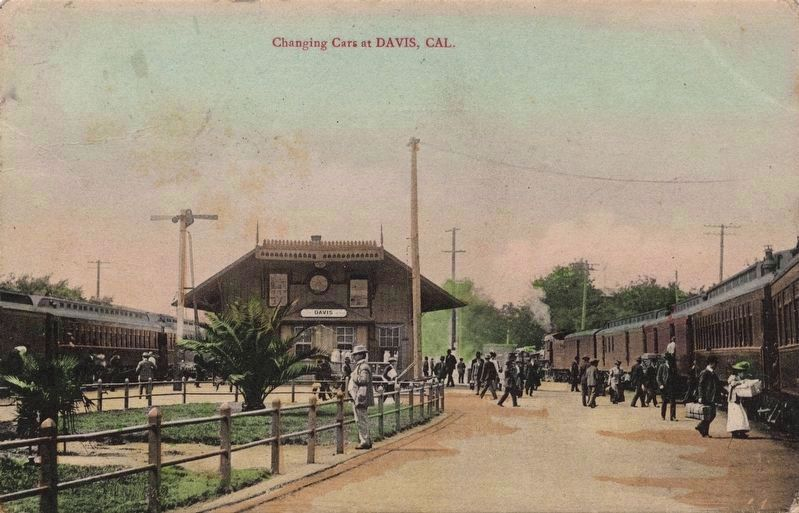 <i>Changing cars at Davis, Cal.</i> image. Click for full size.