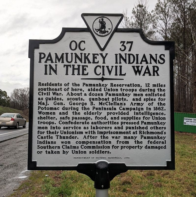 Pamunkey Indians In The Civil War Marker image. Click for full size.