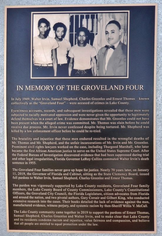 In Memory of the Groveland Four Marker image. Click for full size.