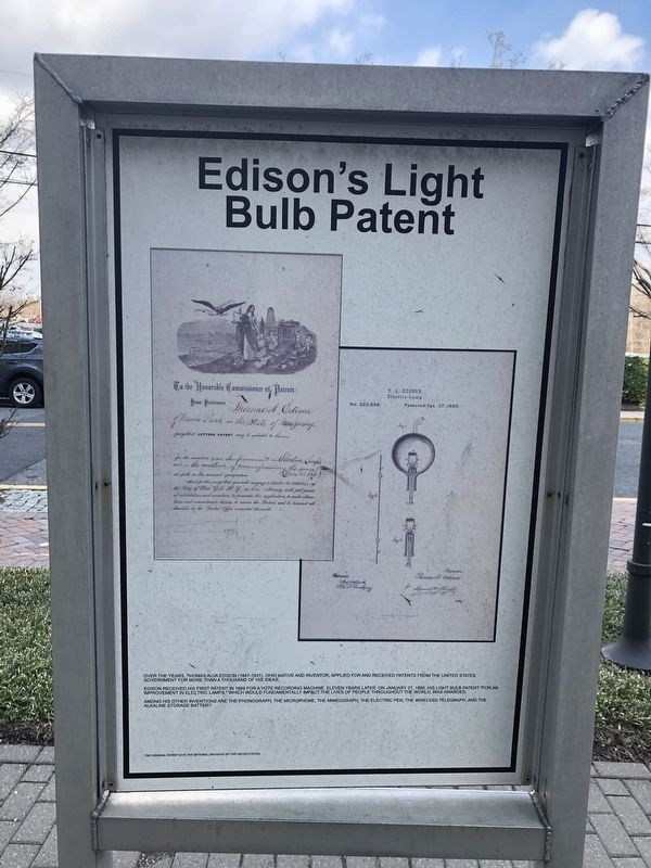 Edison's Light Bulb Patent side of the marker image. Click for full size.