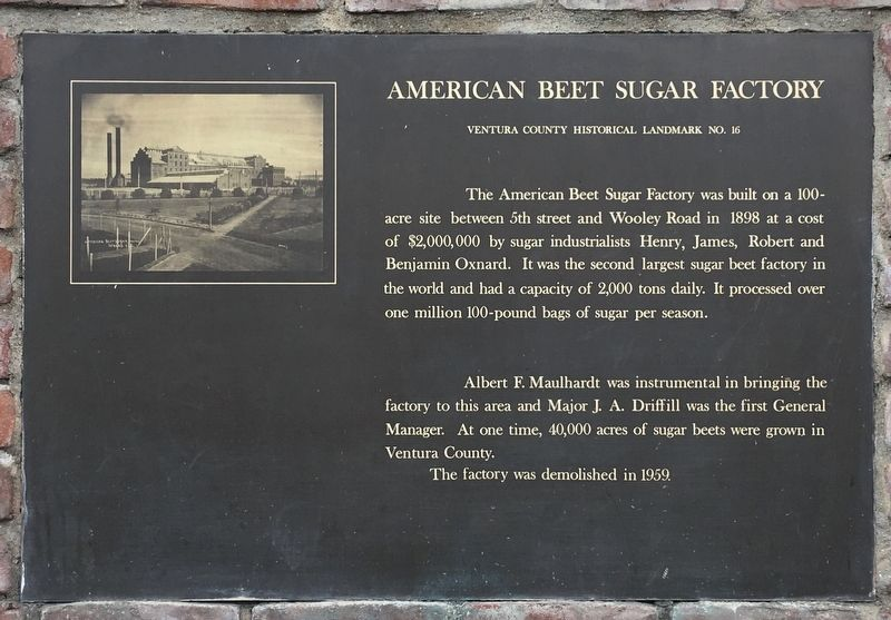 American Beet Sugar Factory Marker image. Click for full size.