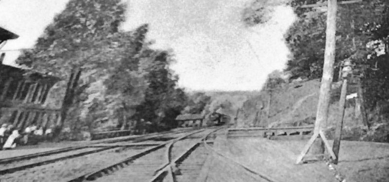 Marker detail: Locomotive arriving at Bentley Springs, Northern Central railway, late 19th century image. Click for full size.