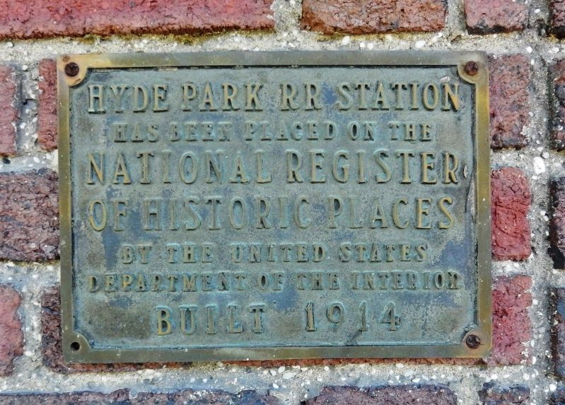 Hyde Park Train Station NRHP Plaque image. Click for full size.