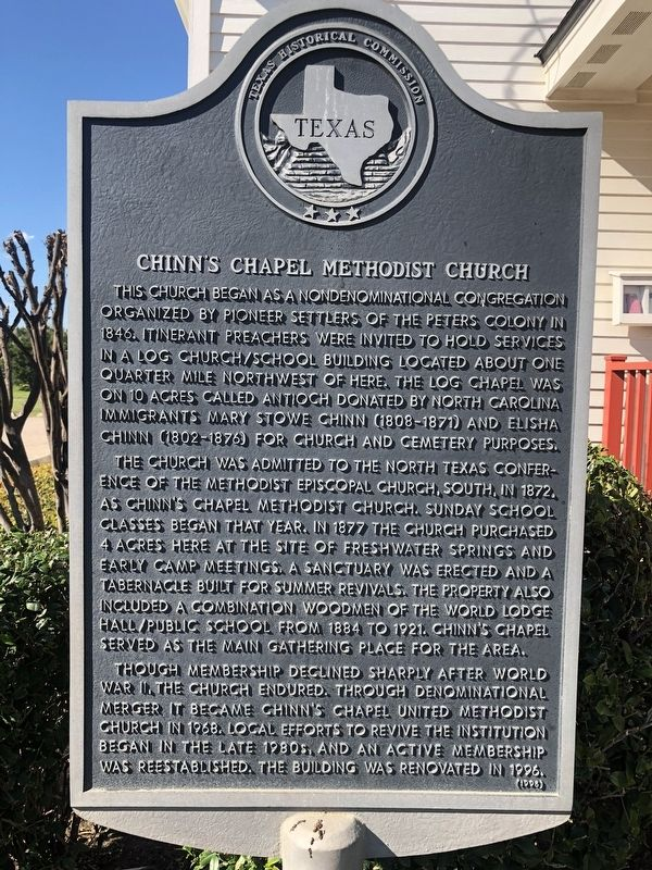 Chinn's Chapel Methodist Church Marker image. Click for full size.