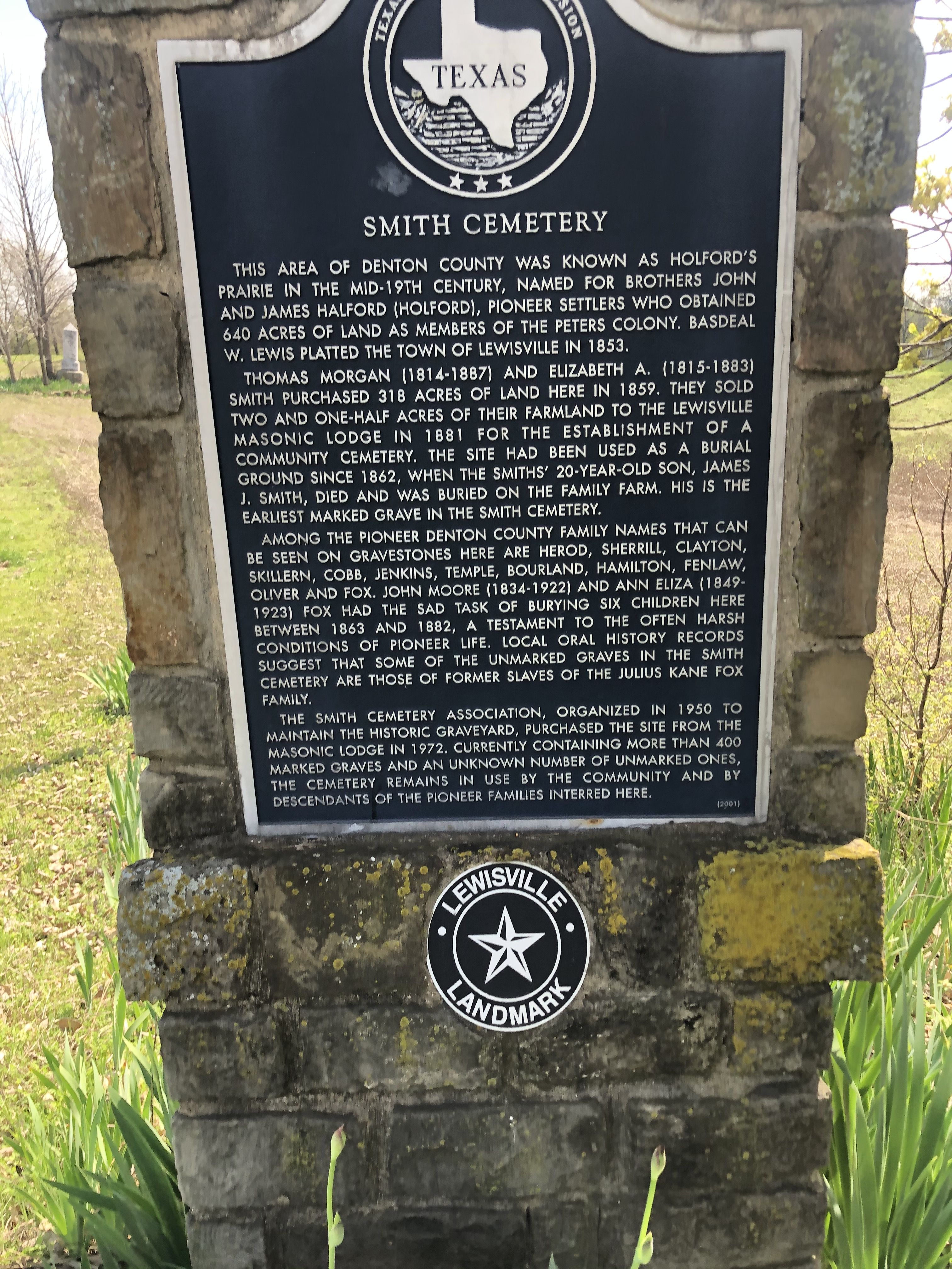 Smith Cemetery Marker
