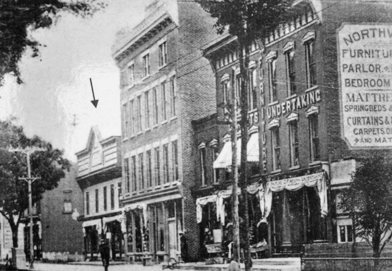 Marker detail: Main Street • Fry Block far left • circa 1914 image. Click for full size.