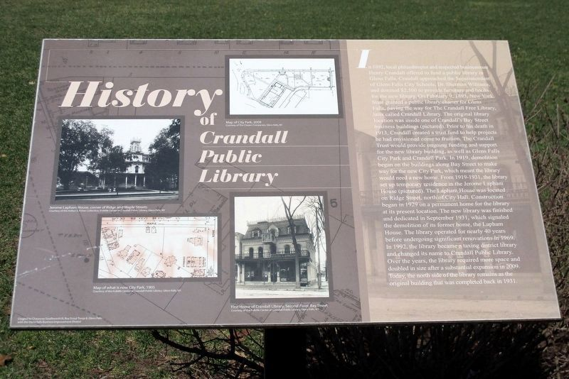 History of Crandell Public Library Marker image. Click for full size.