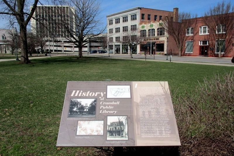 History of Crandell Public Library Marker overlooking City Park. image. Click for full size.